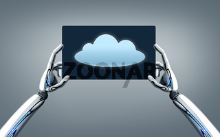 robot hands with cloud image on tablet pc screen