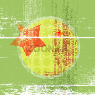 Abstract poster in bright shades of green with a star and a circle in the middle.