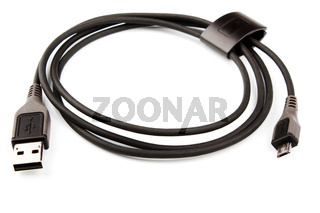 black usb cable isolated on white background
