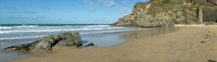 Great Western beach panorama Newquay Cornwall UK.