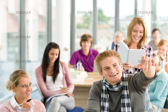 Class at high school - students in classroom