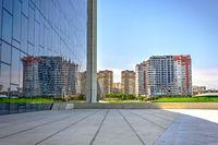 City reflection on Heydar Aliyev Center, Baku