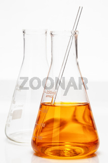 Chemistry flask on white