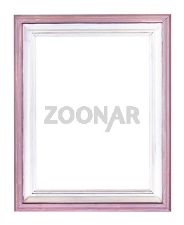 vertical pink and white painted wood picture frame