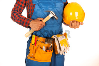 Manual worker man isolated on white background