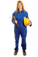 Frau als Arbeiterin mit Werkzeug