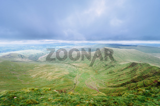 lley at the peack of Pan Y Fan in Brecon Beacons, Wales