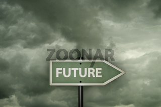 schild mit dem wort future vor wolkenhintergrund - 3d rendering