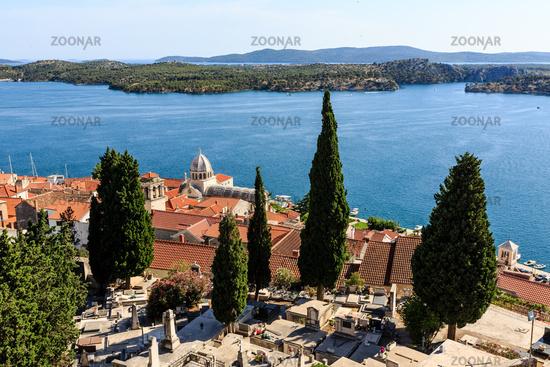 Panoramic View on Saint James Cathedral and City of Sibenik, Croatia