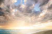 Cloudy sea sunset