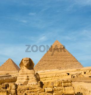 Sphinx Front Facing Giza Egypt Pyramids Khafre