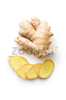 Sliced ginger root.
