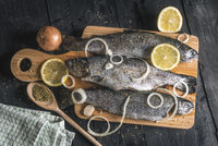 Fresh fish seasoned with herbs and lemons