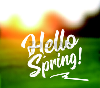 Text message hello spring, against a background of a spring landscape