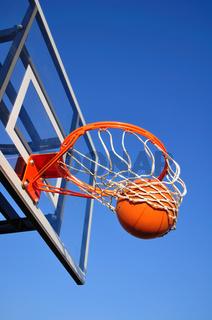 Basketball Shot Falling Through the Net