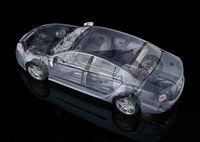 Generic sedan car detailed cutaway representation.