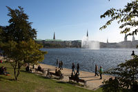 Hamburg, Germany - Outer Alster Lake with City Skyline