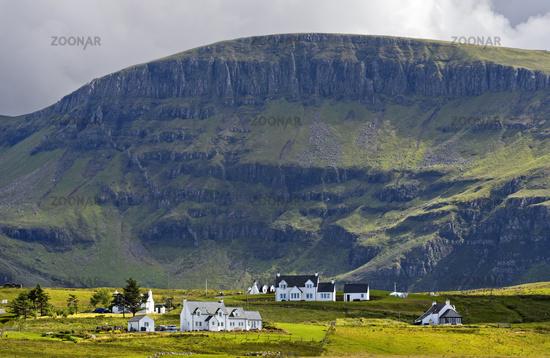 Kilmaluag township at the foot of mount Sgurr Mor, Trotternish peninsula, Isle of Skye, Scotland
