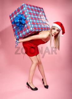 xmas girl with gift