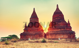 Sunrise over the temple, Bagan. Myanmar.