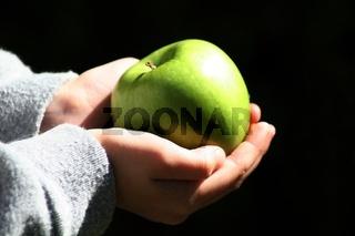 Haende mit Apfel