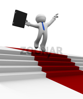 Businessman jumping high on a red carpet, 3d rendering