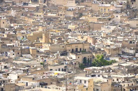 Homes with satellite dishes of the old town, Medina of Fez, Morocco, Africa