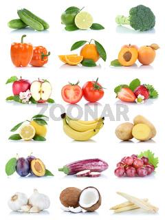 Früchte Obst und Gemüse Apfel Tomaten Orange Zitrone Trauben Farben Sammlung Freisteller freigestellt isoliert
