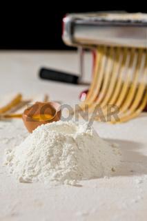 Ingredients for tagliatelle pasta