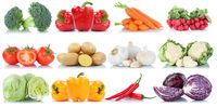 Gemüse Tomaten Kartoffeln Karotten Paprika Salat Kraut Collage Freisteller freigestellt isoliert