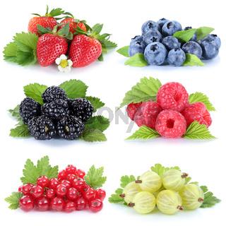 Sammlung Beeren Erdbeeren Blaubeeren Himbeeren Johannisbeeren Früchte