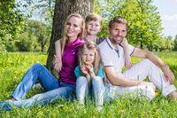 Happy family in city par