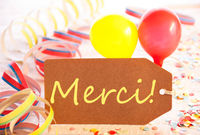 Party Label, Balloon, Streamer, Merci Means Thank You