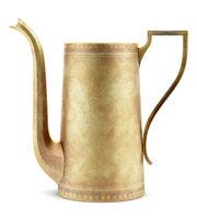 yellow metallic teapot isolated on white background