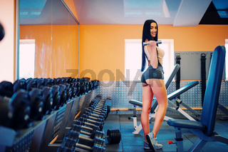 Gorgeous brunette working on her muscles in a gym. Fitness woman doing workout. Sporty sexy girl doing exercise in fitness center.