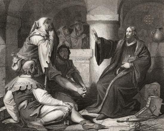 Jan Hus preaching at prison