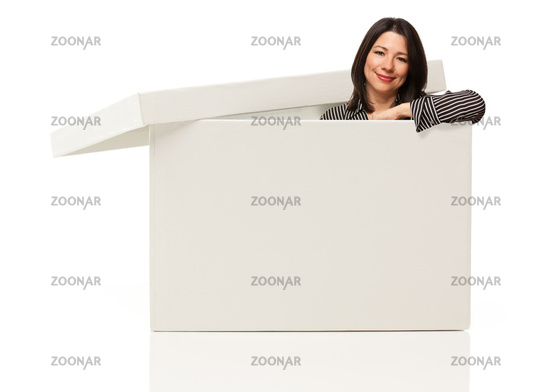 Multiethnic Woman Standing Inside Blank White Box