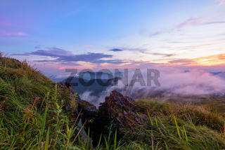 Sunset on Phu Chi Fa Forest Park, Thailand