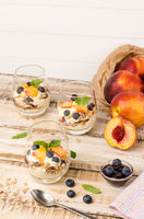 Granola with peaches, yogurt and blueberries