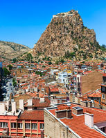 Afyon town and Karahisar castle, Turkey