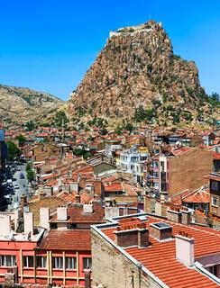 Afyon town and Karahisar castle, Turkey