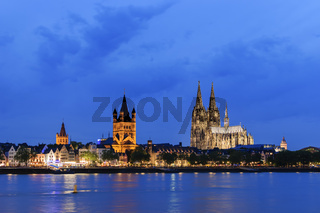 Cityscape of Cologne at night