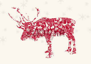 Christmas Reindeer with Ornaments and Snowflakes