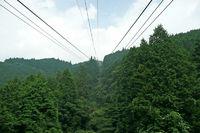 Ropeway to the top of Japanese Mt. Hiei San near Kyoto and Lake Biwa