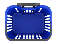 top view of empty blue shopping basket isolated on white background. 3d illustration
