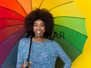 black woman holding a colorful umbrella