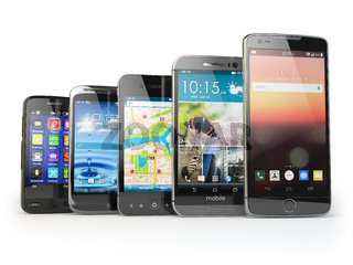 Row of the different smartphones isolated on white. Choose mobile phone. Developing of mobile communications concept.