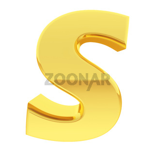 Gold alphabet symbol letter S with gradient reflections isolated on white. High resolution 3D image
