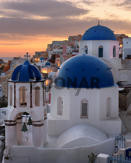 Saint Spyridon Church and Anastasis Church in the Morning, Oia, Santorini, Greece