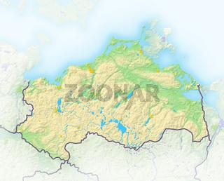 Mecklenburg-Vorpommern, Reliefkarte.